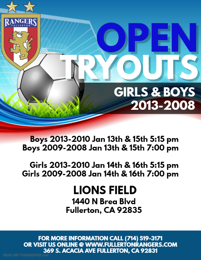 2020 Competitive Teams Open Tryouts